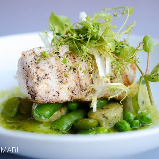 Grilled swordfish with fava beans better light and angle
