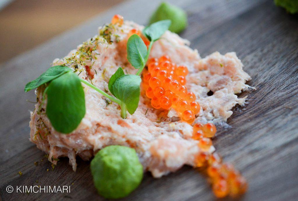 King Salmon Belly, cilantro, dill pollen, smoked roe (Chef La Motte)