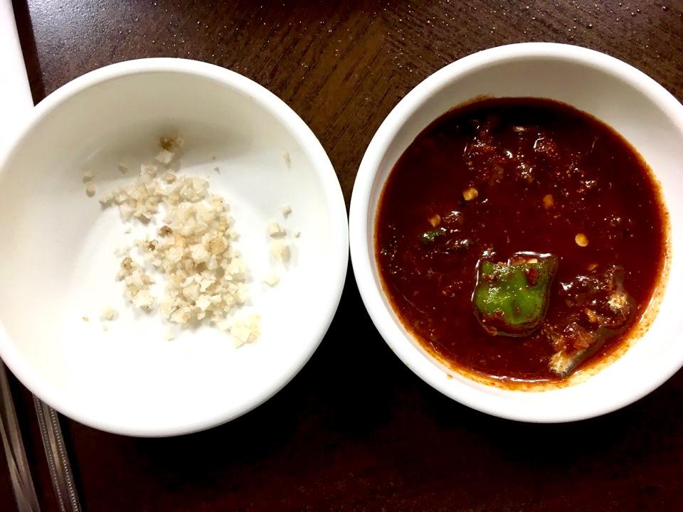 Salt and salted anchovy gochujang sauce for pork