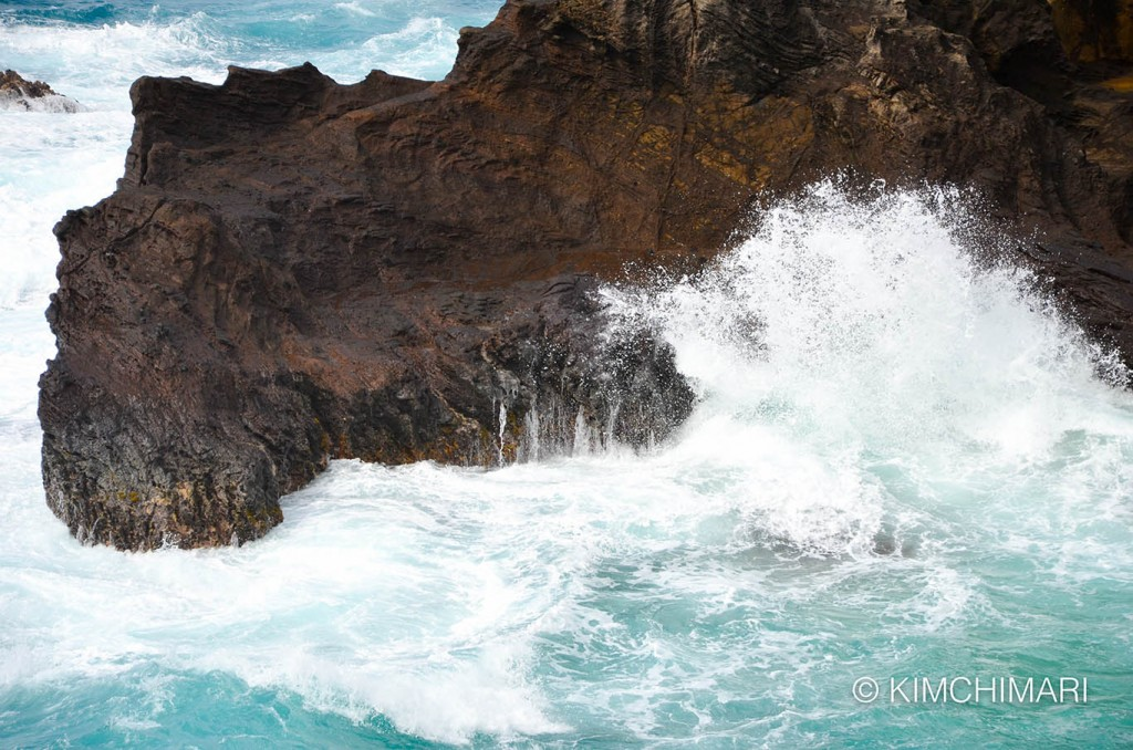 Big waves hitting rock honolulu ocean