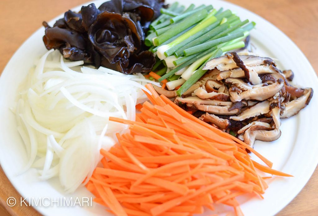 Japchae ingredients for vegan one-pan recipe
