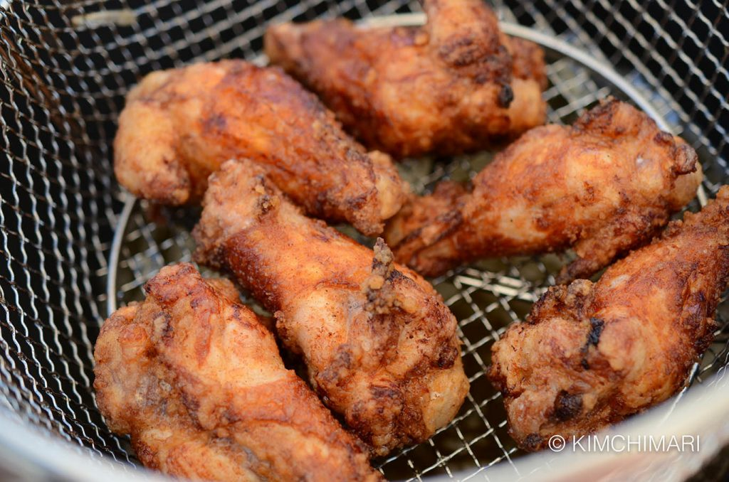 Korean Fried Chicken fried in basket