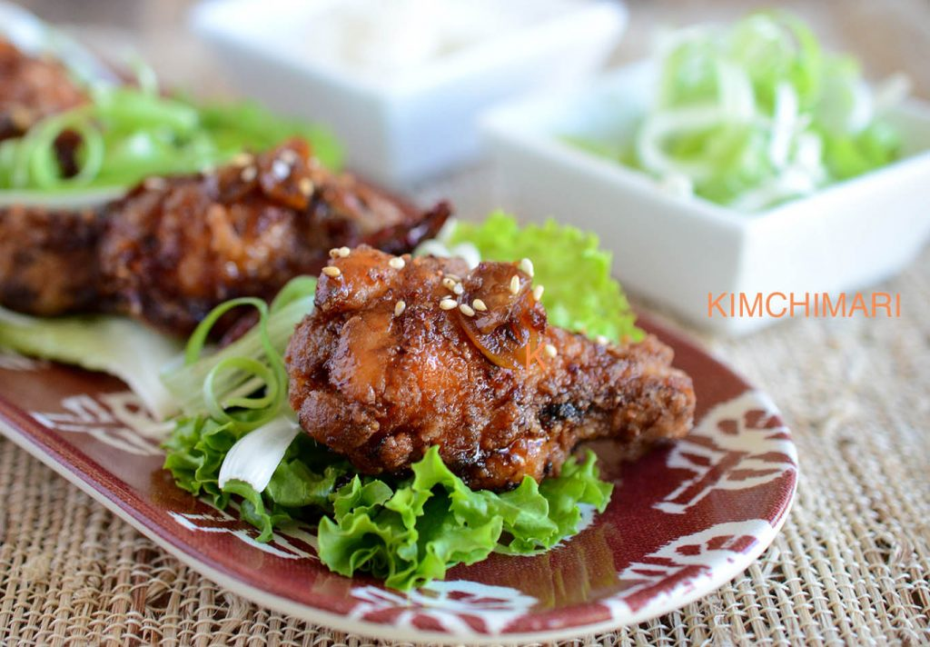 Korean Fried Chicken glazed with Sweet Garlic Soy Sauce served with ...