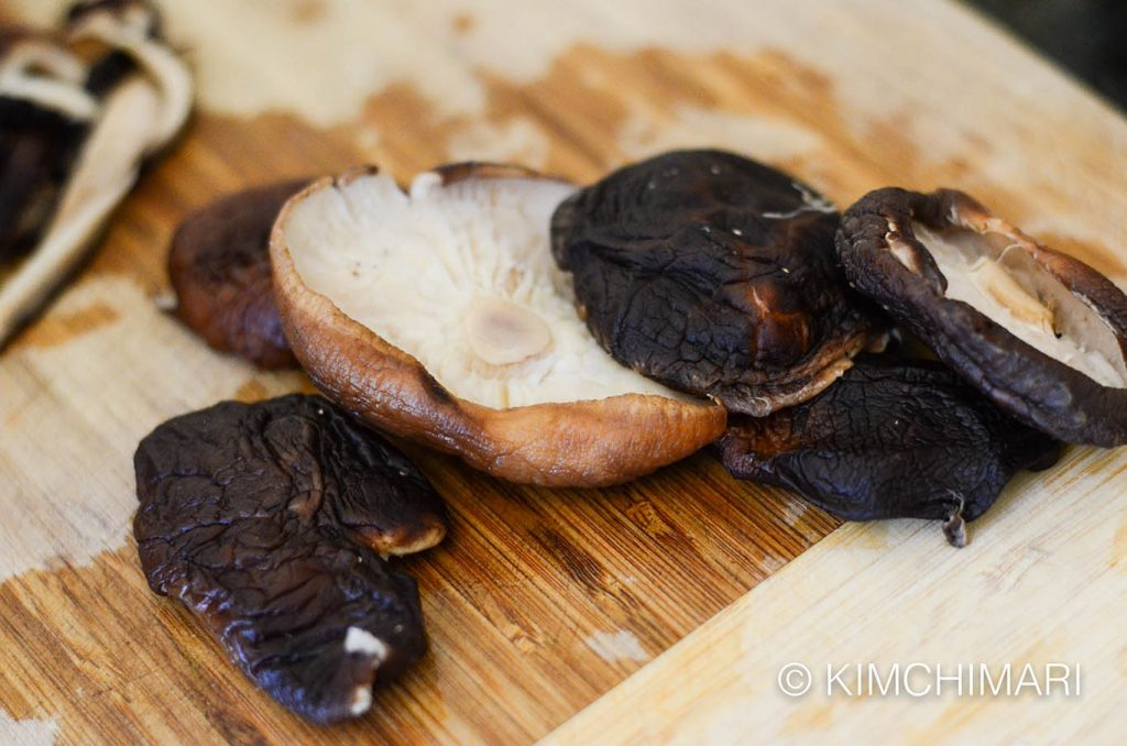 Rehydrated Shitake Mushrooms for Japchae
