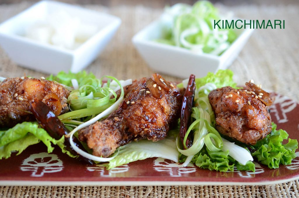 Soy Glazed Korean Fried Chicken served with green onions (Dakgangjeong ...