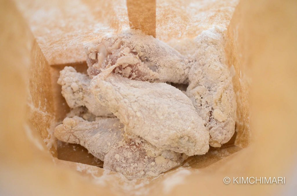 chicken in paper bag for korean fried chicken