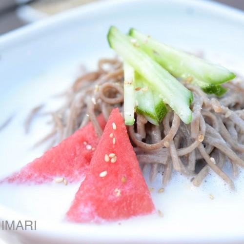 cold soy milk noodle soup kongguksu closeup