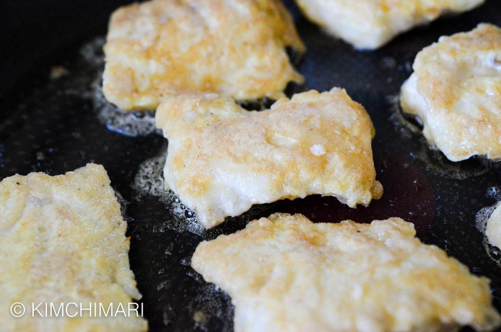 Korean fish jeon frying in oil