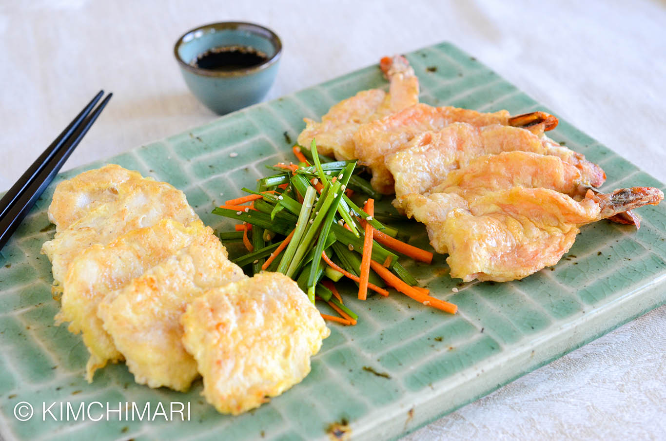 Pan fried Cod Jeon (saensun jeon) and Shrimp Jeon (saewoo jeon) served with chive salad