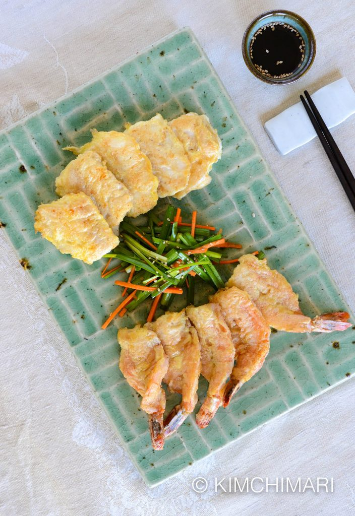 Saengsun (Fish) Jeon Saewoo (Shrimp) Jeon with Chive and Carrot Salad