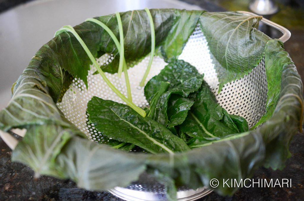 Steamed veggies for ssam draining