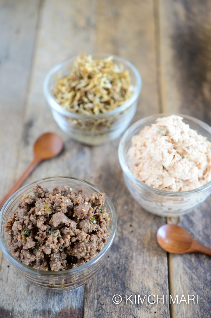 Toppings for Mini Ssambap: Tuna, Anchovies, Bulgogi
