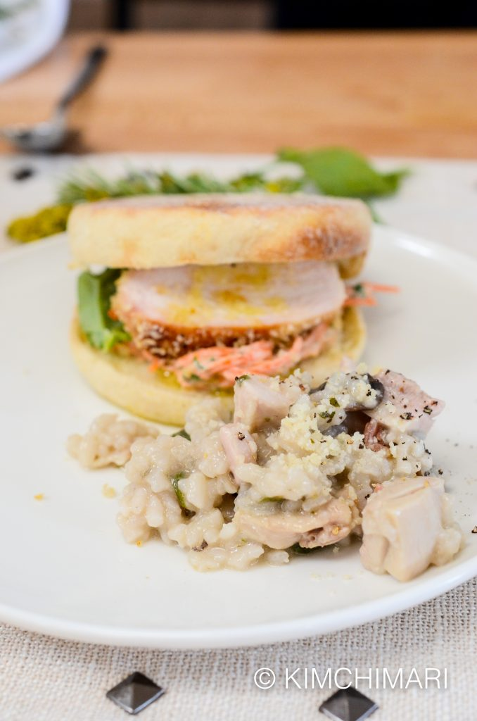 Never Fried Chicken Sandwich and Mushroom Chicken Risotto