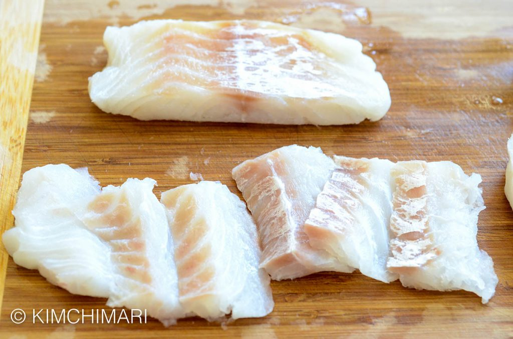 cutting cod fillet for fish jeon