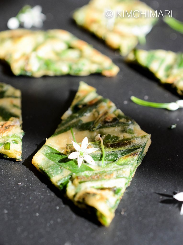 Korean Garlic Chive Pancake with Chive Flowers