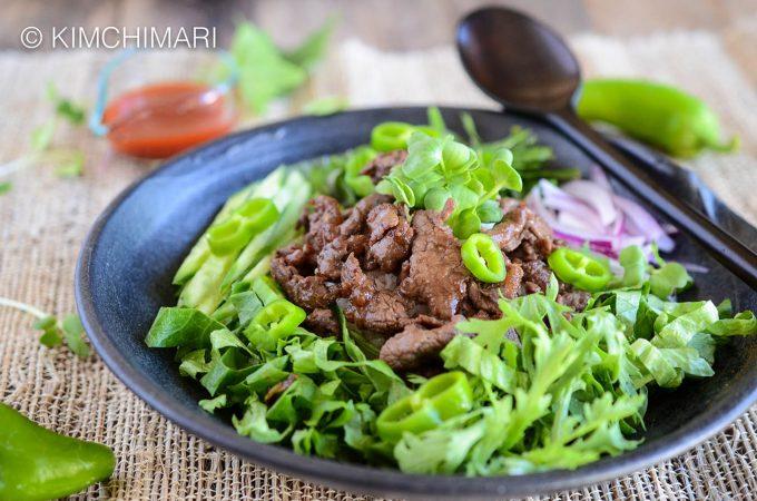 Bulgogi Rice Bowl with Perilla Ssukat and Gochujang sauce