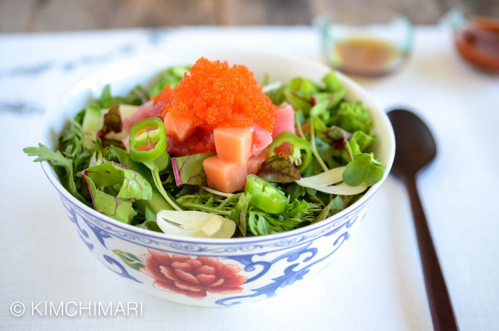 Hoedeopbap with Salmon, Tuna, veggies and Gochujang Sauce