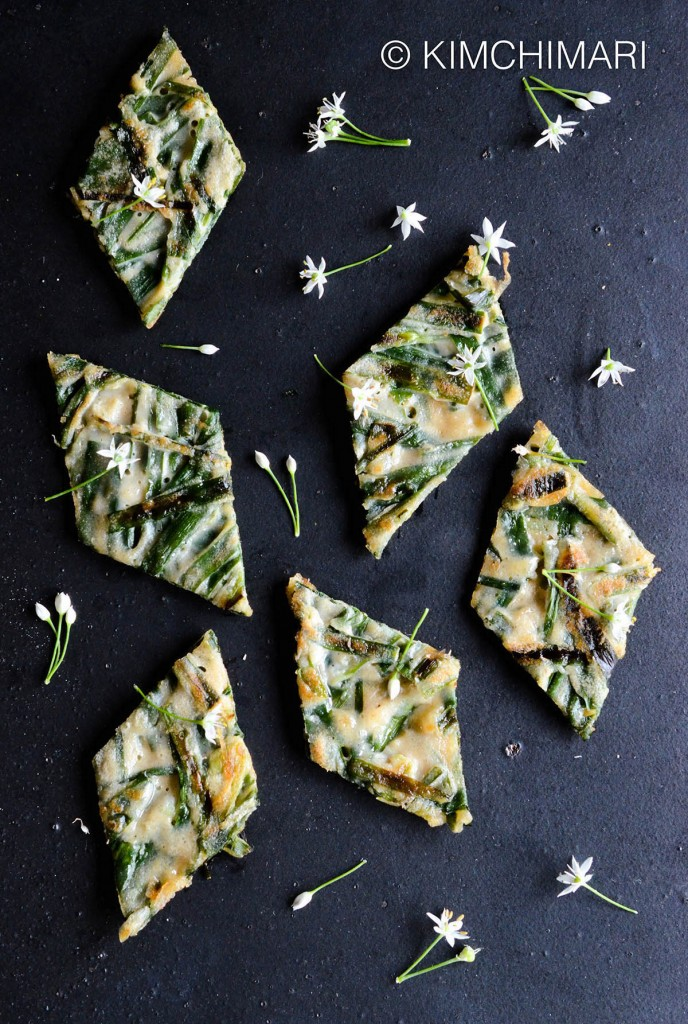 Korean Chive Pancake with Chive Flowers (Buchujeon)