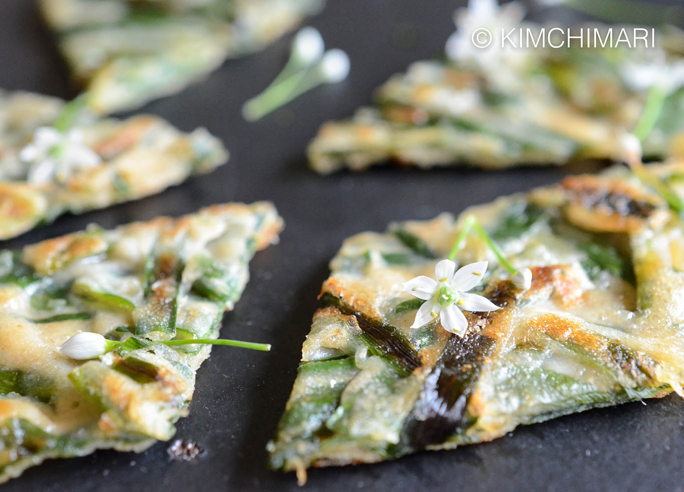 Korean Chive Pancake (Buchujeon) with Chive Flowers