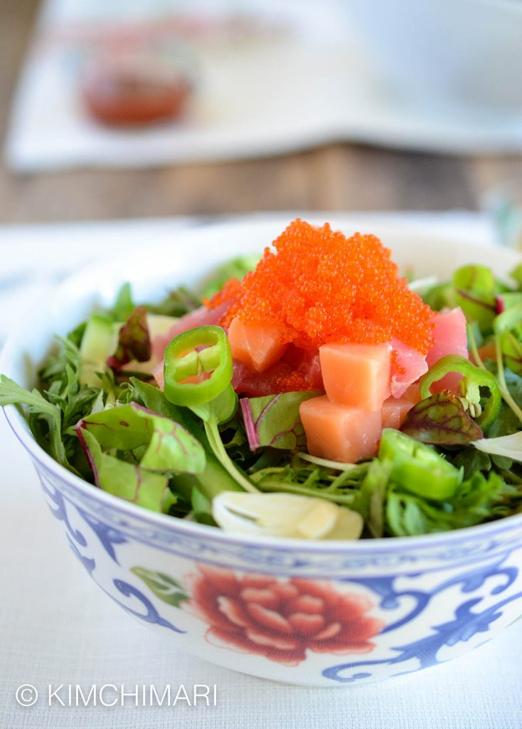 Korean rice bowl with sashimi hoedeopbap kimchimari for Sashimi dressing