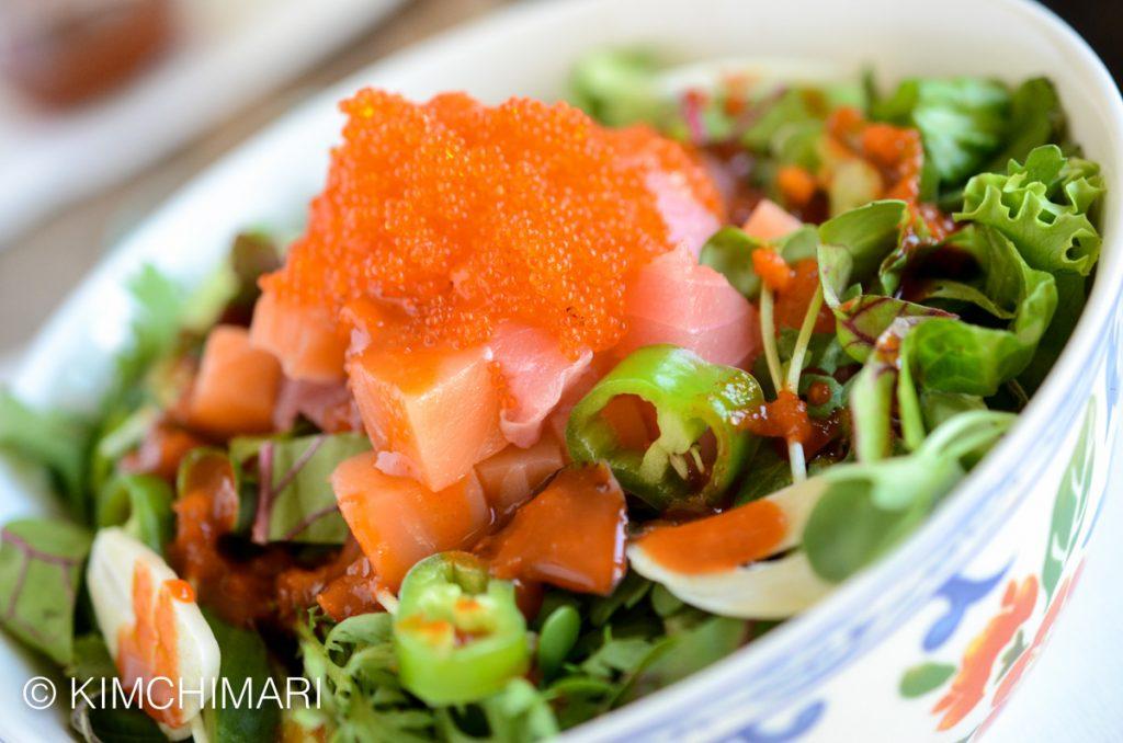 Korean Rice Bowl with Tuna Salmon and Gochujang sauce