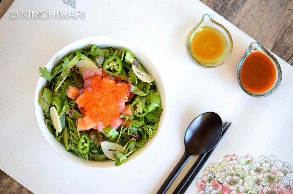 Korean Rice Bowl with Sashimi and Gochujang and Sesame oil