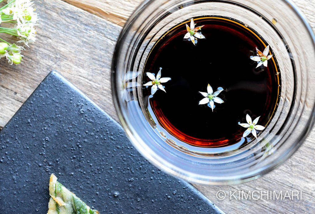 Korean Dipping Sauce with Chive Flowers for Korean Chive Pancakes