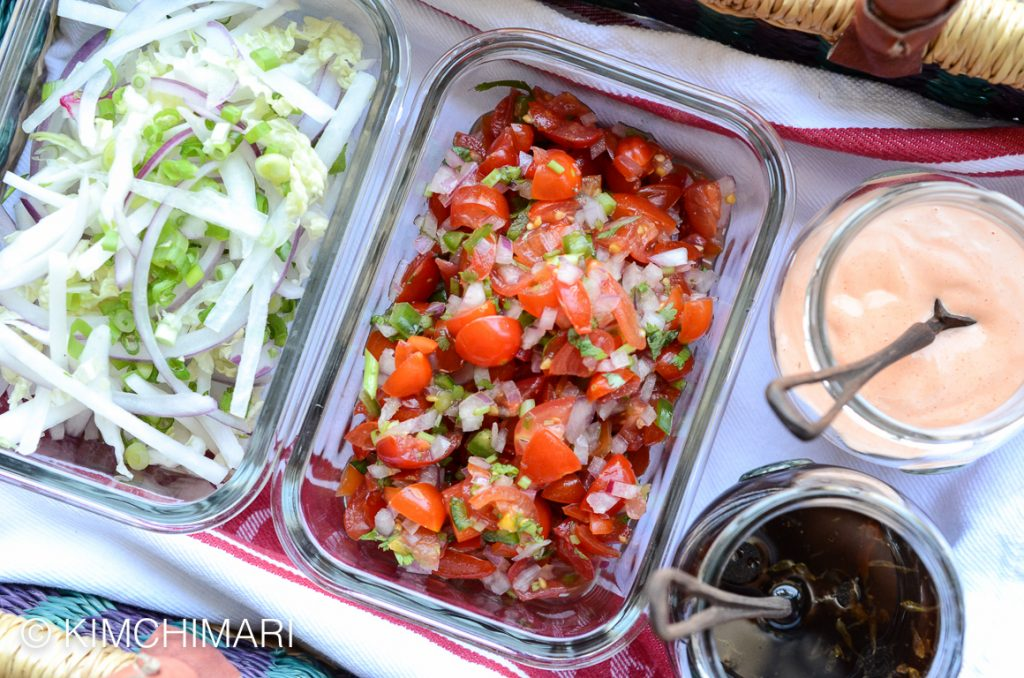 Korean Kalbi Taco fixings – cabbage slaw, salsa, soy lime dressing ...