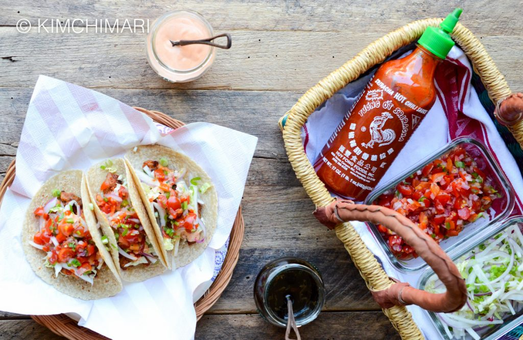 Korean Taco Fixings - coleslaw, salsa, soy lime dressing, creamy gochujang sauce