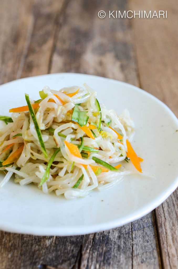 Korean Bean Sprouts Recipe with Cucumber and Yellow Peppers