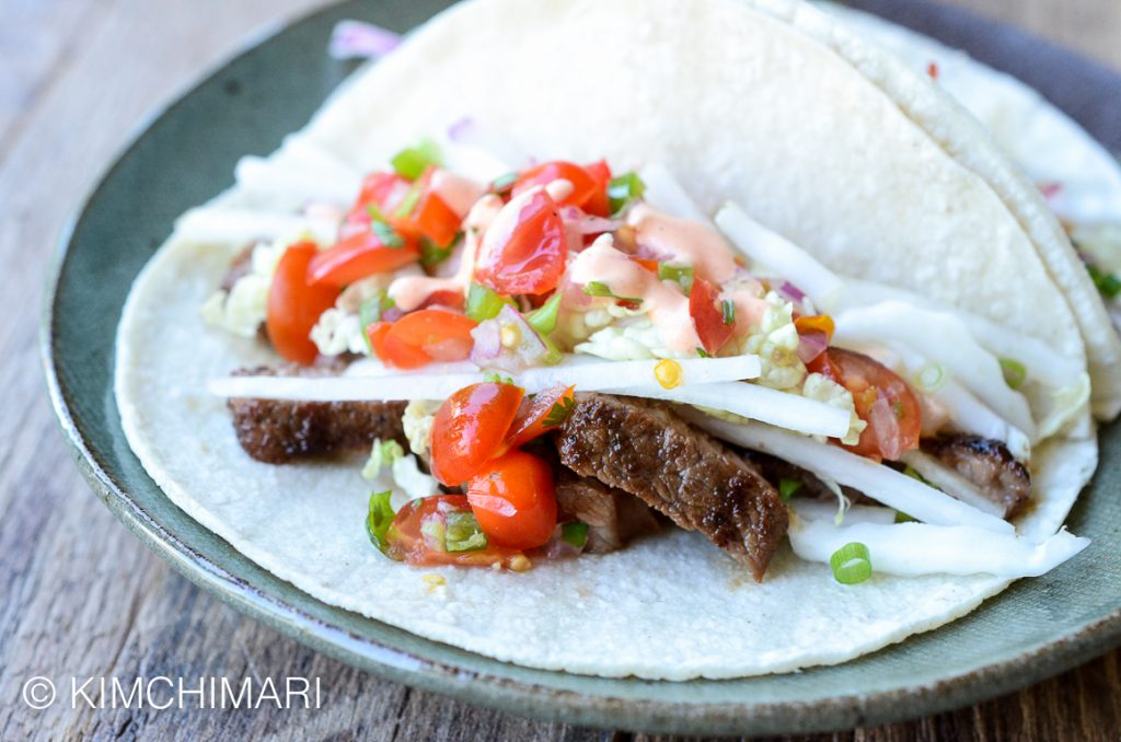 Korean Tacos with Kalbi and Napa Cabbage Slaw