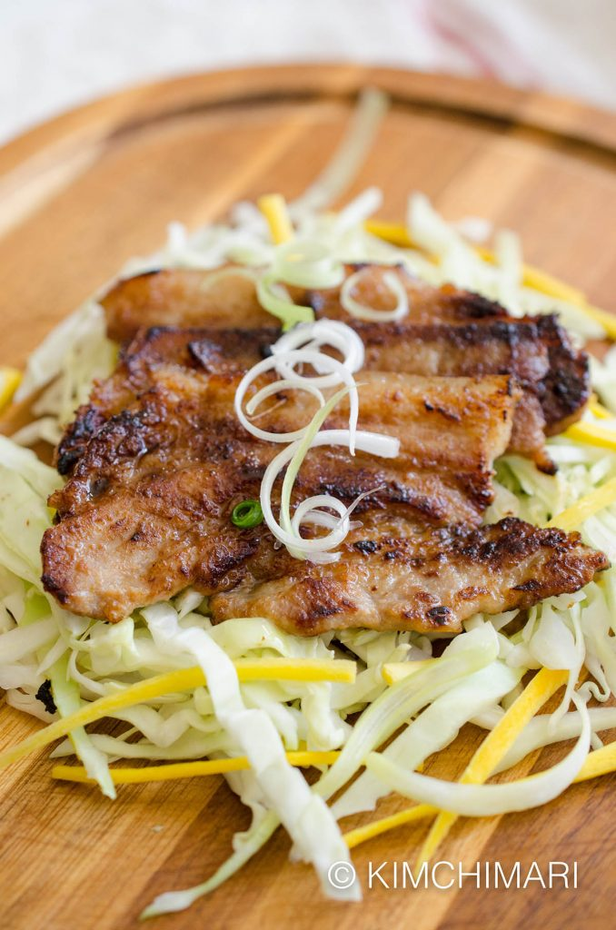 Miso Pork Belly with green onions and cabbage