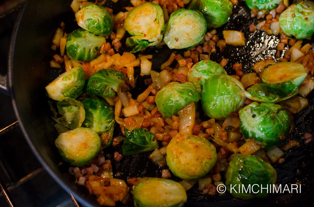 Adding Kimchi to Brussels Sprouts