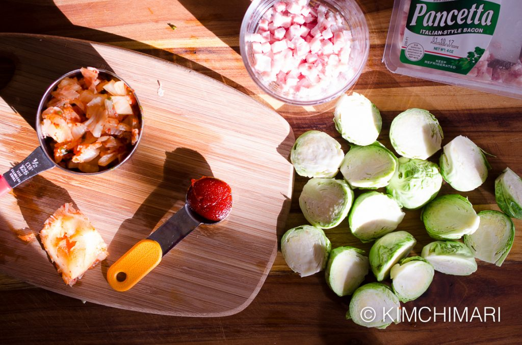 Ingredients for Brussels Sprouts Recipe with Kimchi and Pancetta