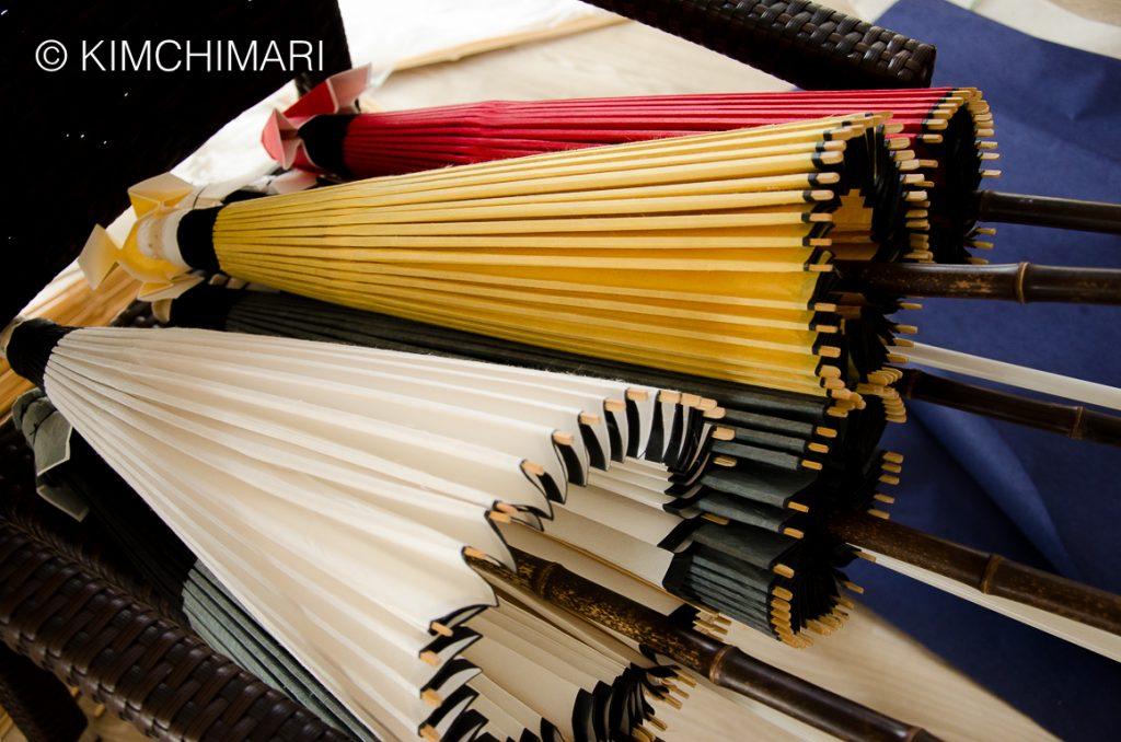 Colors of Korean Paper Umbrellas made by Jeonju Artisan