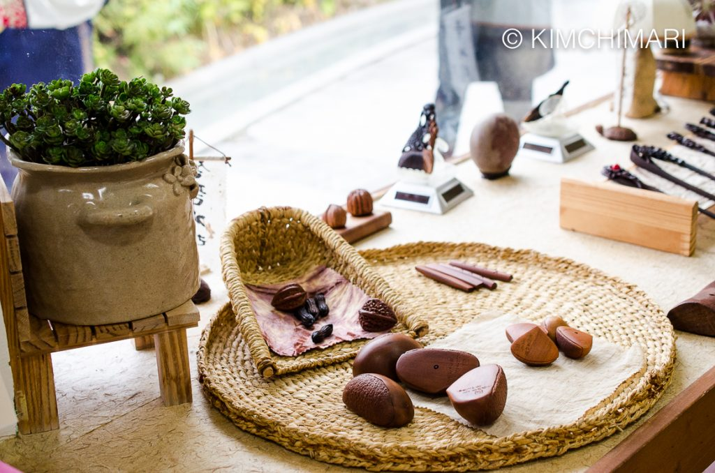 Traditional Korean Yut Game pieces as wooden Chestnuts