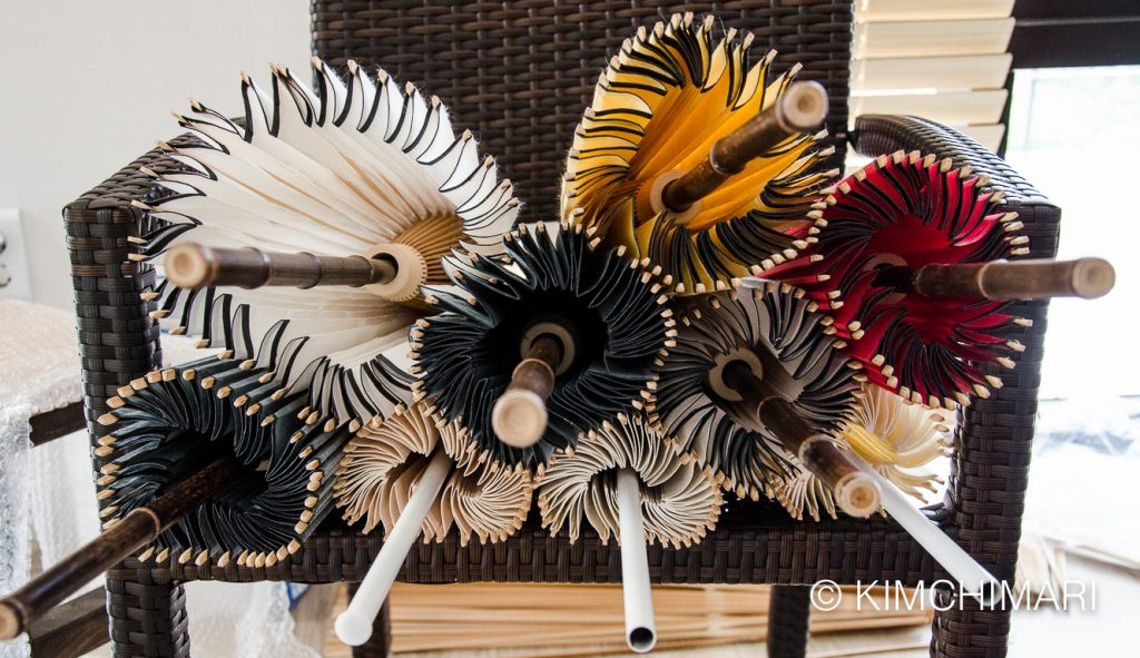 Jiwusan - Korean traditional paper umbrellas in different colors