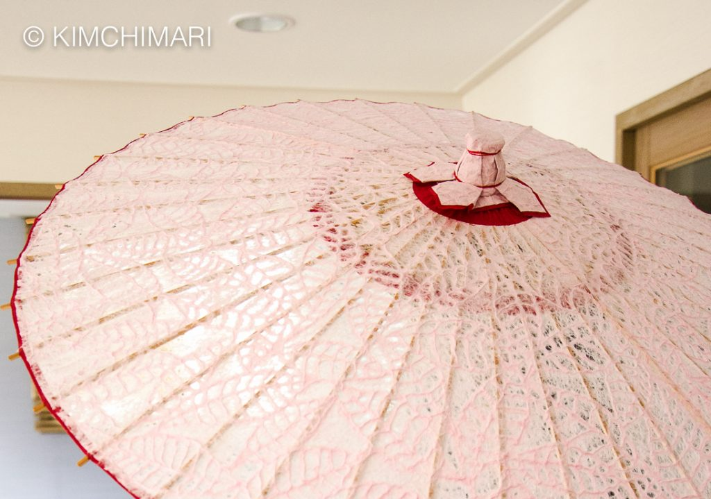 Pine leaf designed Hanji umbrella in Jeonju