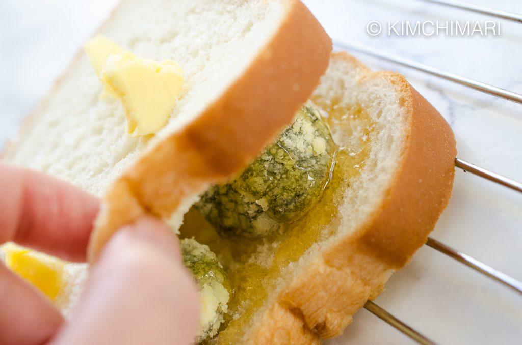 Ssuk Injeomi Stuffed Toast with Butter, Honey and Misugaru
