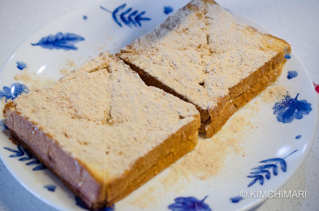 MIsugaru sprinkled on top of Injeolmi Toast
