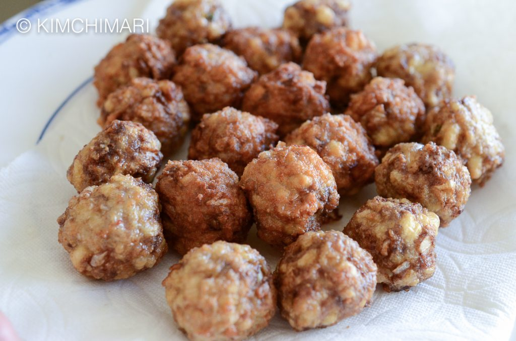 Fried Korean cocktail meatballs