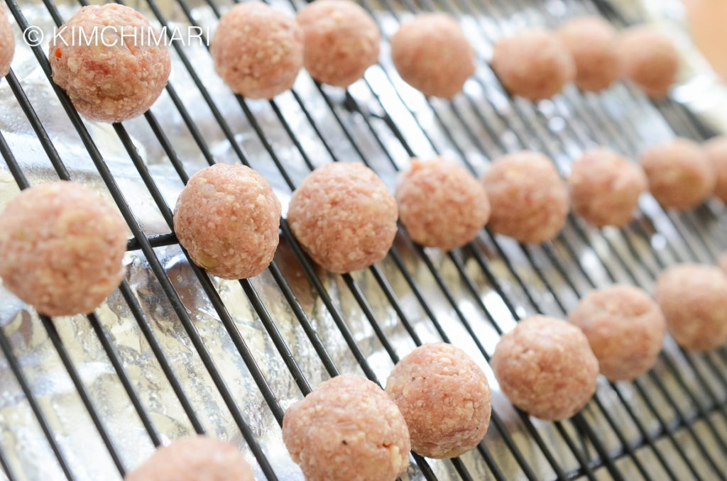 Korean meatball appetizer on rack