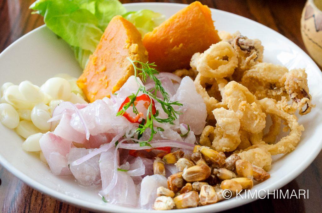 Ceviche Carretillero with Seabass - Peruvian food