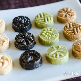 Korean Tea Cookies (Dasik) for Lunar New Year (White Sesame, Black Sesame, Green Tea, Sesame)