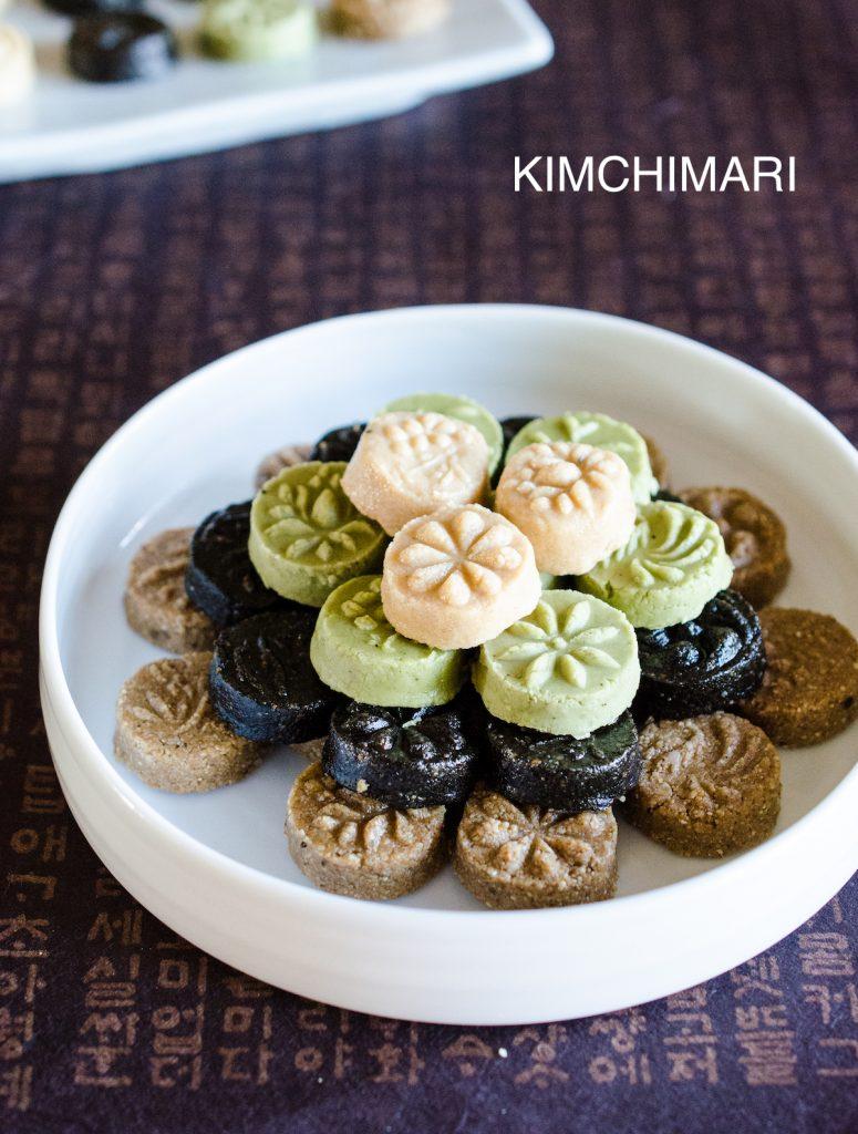 Sesame Tea Cookies (Korean Dasik) - White Sesame, Green Tea, Black Sesame, Brown Sesame