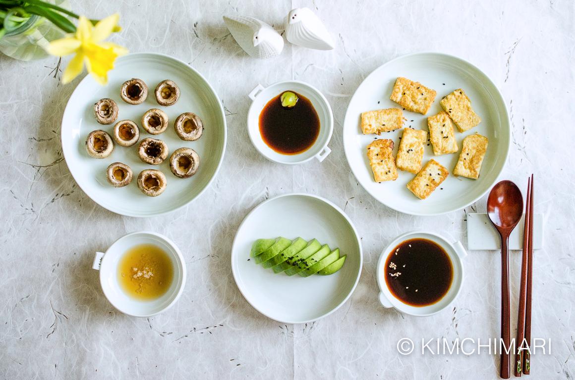 Quick Korean Side Dishes (Avocado, Mushrooms, Tofu)