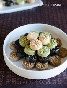 Sesame Tea Cookies (Korean Dasik) -White Sesame, Green Tea, Black Sesame, Brown Sesame