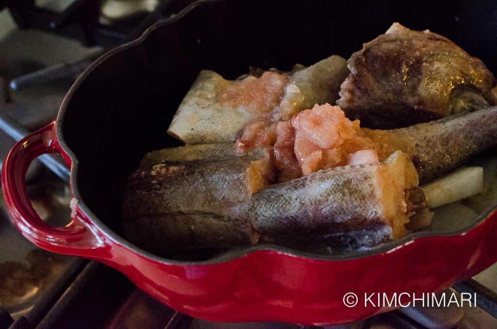 Alaska Pollock in pot for Dongtae Jjigae