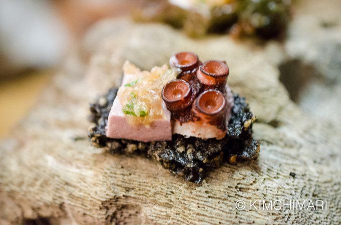 Black rice cracker, olive tofu, octopus, pachikay ginger sauce
