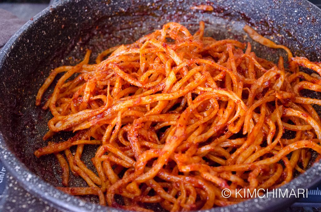 Dried squid in spicy sauce for ojingeochae muchim